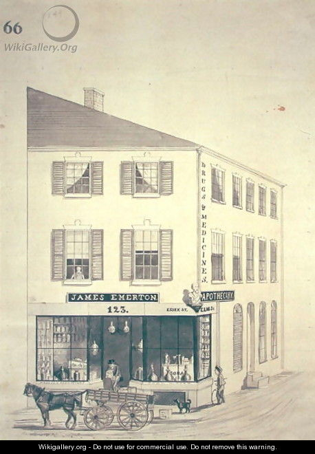 Apothecary shop of James Emerton in Salem - William Henry Emmerton