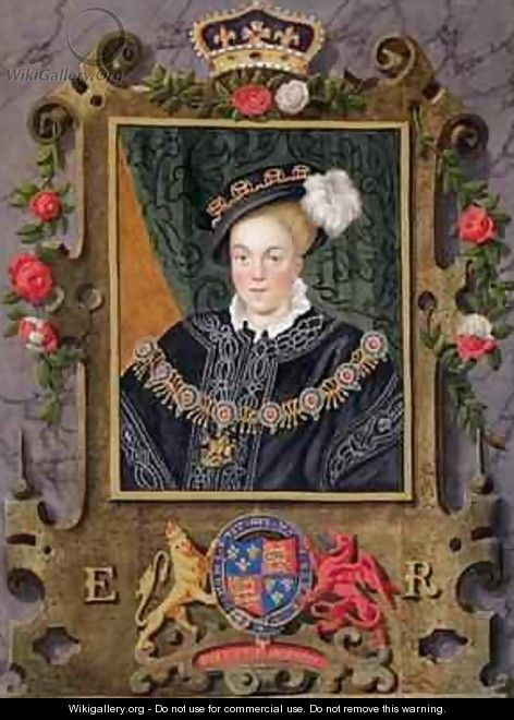 Portrait of Edward VI King of England aged about 14 from Memoirs of the Court of Queen Elizabeth - Sarah Countess of Essex