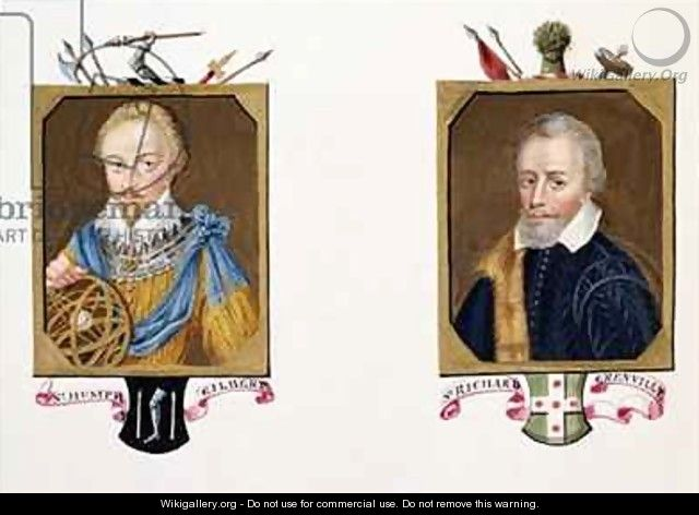 Double portrait of Sir Humphrey Gilbert and Sir Richard Grenville from Memoirs of the Court of Queen Elizabeth - Sarah Countess of Essex