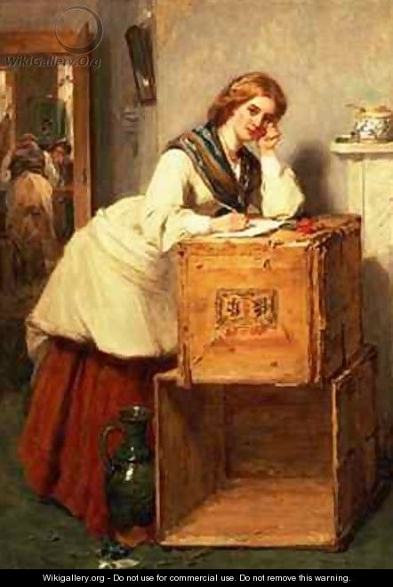 Lady Writing a Letter - Thomas Faed