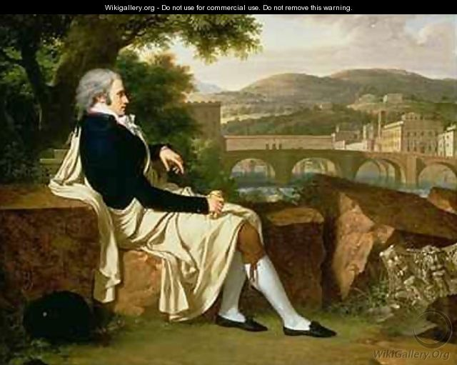 Allen Smith seated Above the River Arno contemplating Florence - Francois-Xavier Fabre