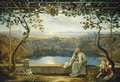 Monk sitting on a Terrace overlooking Lake Nemisee - Joachim Faber