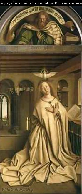 Virgin Annunciate from the exterior of the right panel of the Ghent Altarpiece - Hubert & Jan van Eyck