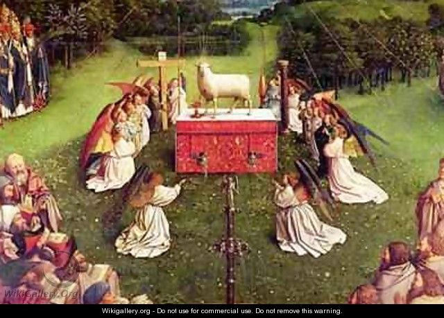 The Adoration of the Mystic Lamb from the Ghent Altarpiece - Hubert & Jan van Eyck