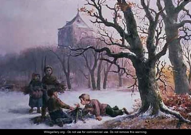 Children Playing in the Snow - R. Favelle