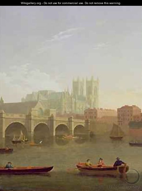 Westminster Abbey and Westminster Bridge Seen from the South - Joseph Farington