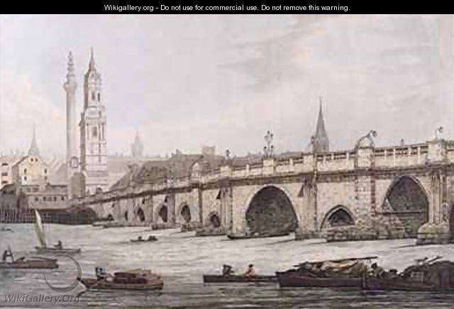 View of London Bridge including the Church of St Magus and The Monument - (after) Farington, Joseph