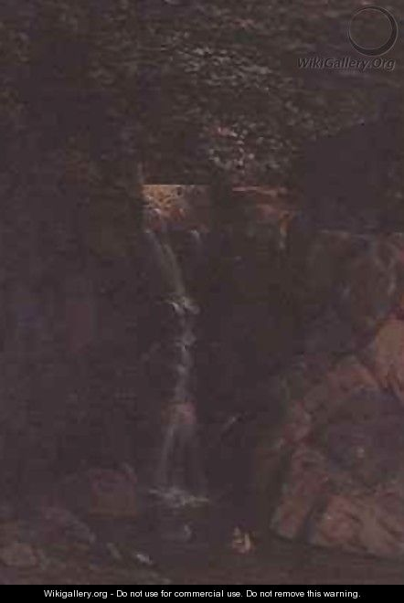 Waterfall in a Woodland Landscape - F. Famin