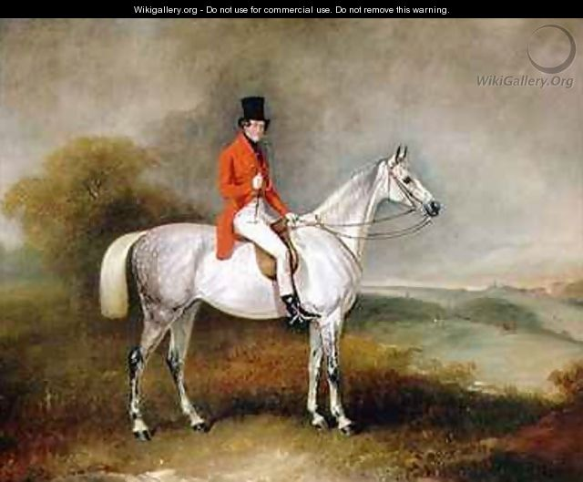 Charles Neil Hogg on his hunter Alice Grey Ormely Hall Leicestershire - John Ferneley, Snr.