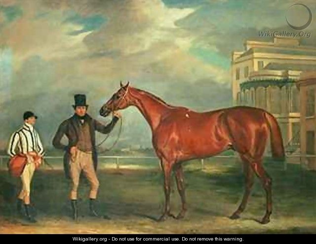 General Chasse a chestnut racehorse being held by his trainer with his jockey J Holmes standing by on Aintree racecourse - John Ferneley, Snr.