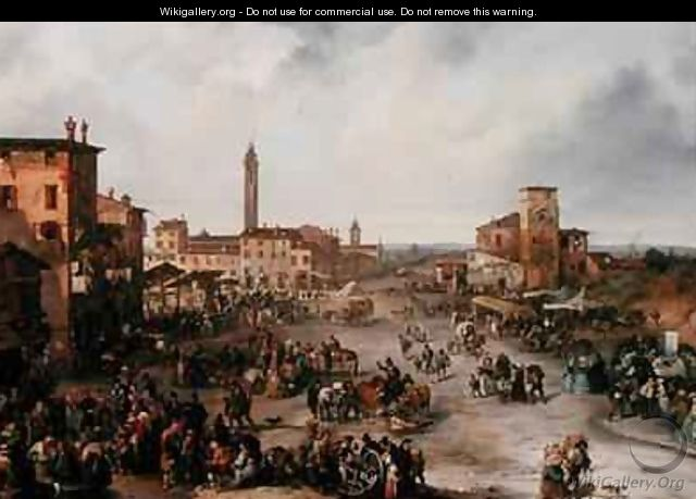 View of a Market Town and possibly the Fair of St Allessandro - Carlo Ferrari