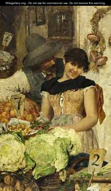 A Venetian Vegetable Stall Courtship - Giacomo Favretto