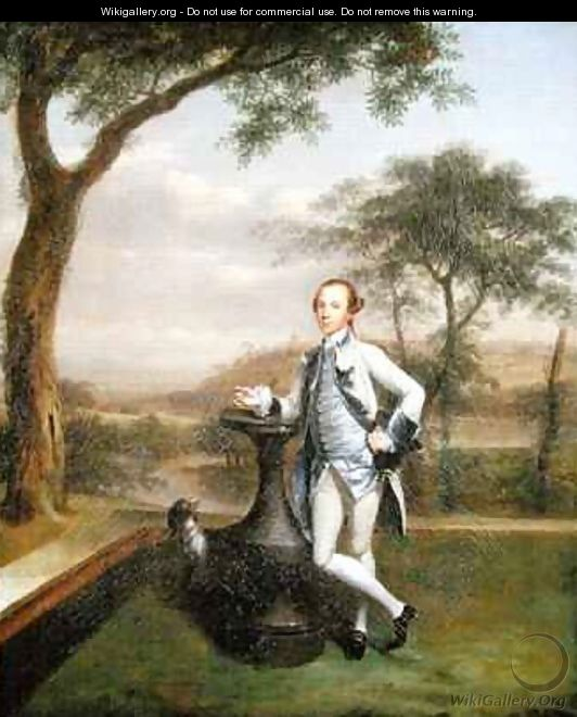 Portrait of a Gentleman leaning on a sundial - Arthur Devis