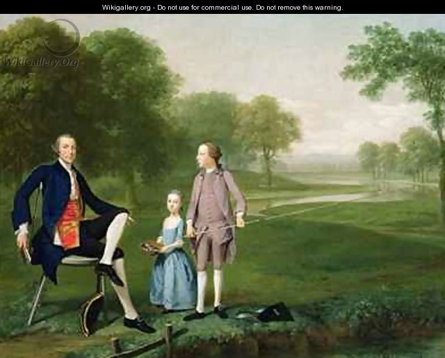 Richard Moretan Esq of Tackley with his nephew and niece John and Susanna Weyland - Arthur Devis