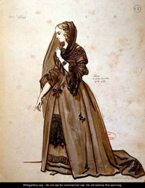 Costume design for the role of Dona Elvire in an 1847 production of Don Juan - Achille-Jacques-Jean-Marie Deveria