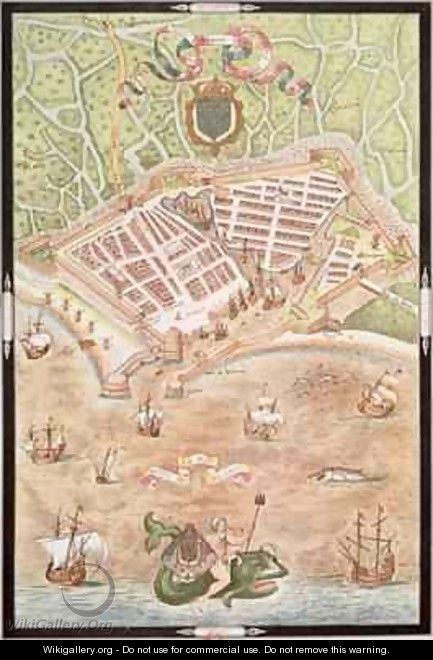 Fascimile of a Plan of Le Havre in 1583 - Jacques Devaulx