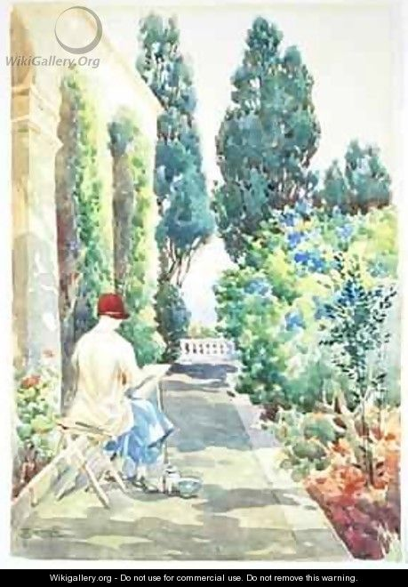 Cicely Nops Painting in a Garden - Robert Caruana Dingli