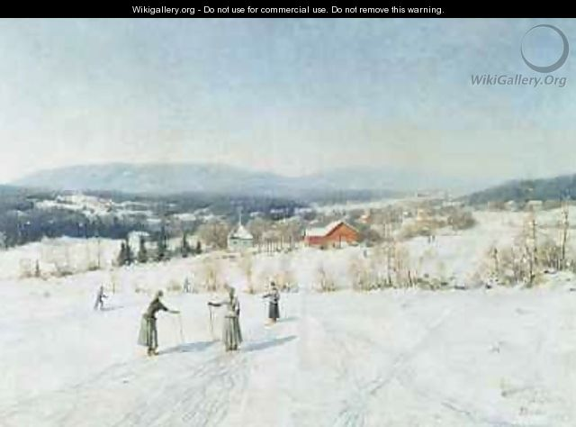 Landscape with Skiers - Carl-Edvard Diriks