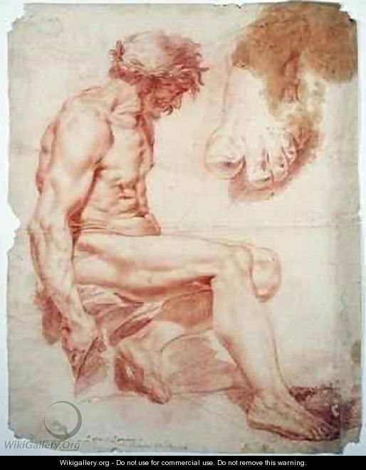 Seated Male Nude Crowned with a Laurel Garland and a Study of a Foot - Jessica Stewart Dismorr