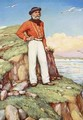 Giuseppe Garibaldi on a cliff ledge on the island of Caprera gazing out towards Italy - Arthur A. Dixon