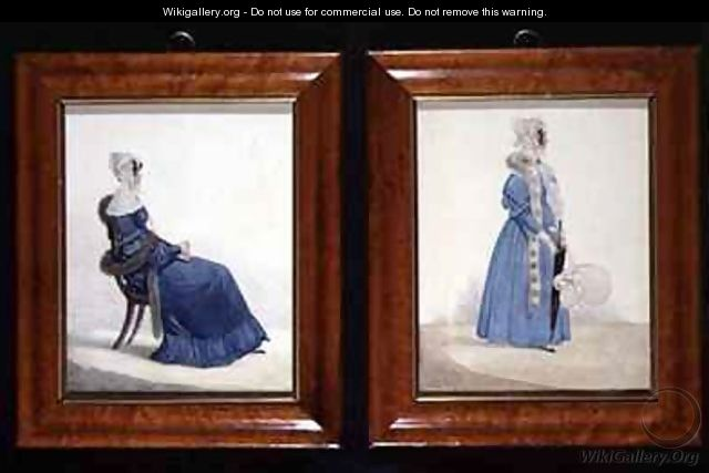 Two portraits of a Seated and a Standing Lady in Blue Dresses - Richard Dighton