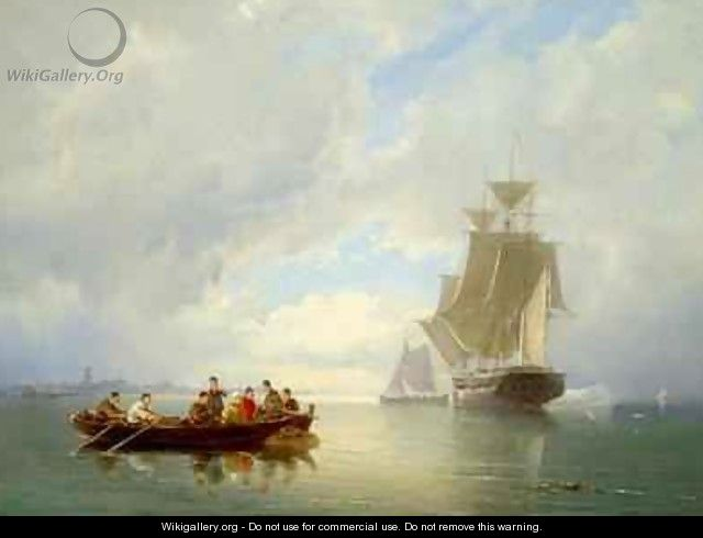 A Ship Becalmed and a Rowing Boat - Cornelis Christiaan Dommelshuizen