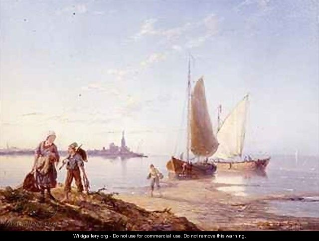 Fishing Boats off the Shore - Pieter Cornelis Dommerson