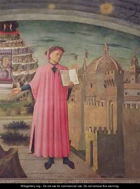 Dante reading from the Divine Comedy - Michelino Domenico di