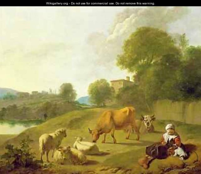 A River Landscape with Cattle Sheep and a Young Girl Playing with a Dog - Simon van der Does