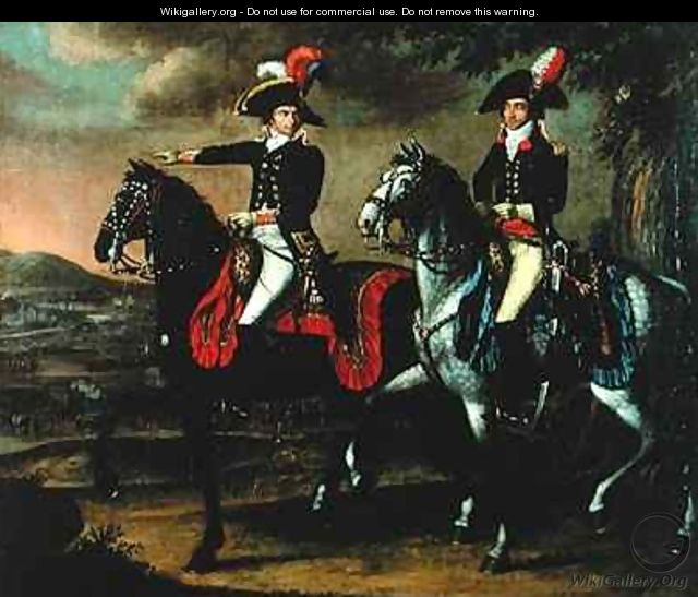 Equestrian Portrait of General Jean Baptiste Jourdan 1762-1833 and one of his aides de camp - Johann Friedrich Dryander