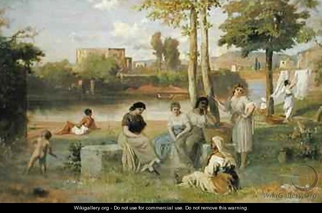 Washing on the Tiber - Heinrich Dreber