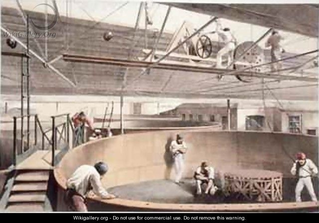Coiling the telegraph cable in the tanks at the works in Greenwich - Robert Dudley