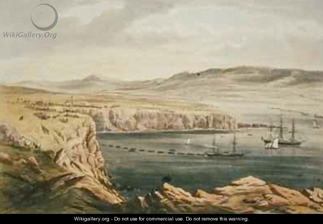View of Port Magee Valentia from the heights of Cora Beg HMS Caroline laying the shore end of the cable - Robert Dudley