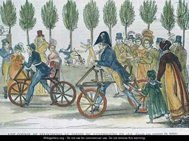 A velocipede race at Jardin du Luxembourg in 1818 - (after) Duvaux, Jules Antoine