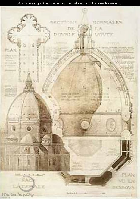 Plan Section and Elevation of Florence Cathedral from Fragments dArchitecture du Moyen Age et de la Renaissance 2 - (after) Duquesne, Eugene