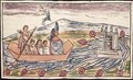 Fol 192v Montezuma II leaving rapidly after hearing of the landing of the Spanish - Diego Duran