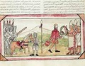 Fol 208v Meeting of Hernando Cortes 1485-1547 and Montezuma 1466-1520 - Diego Duran
