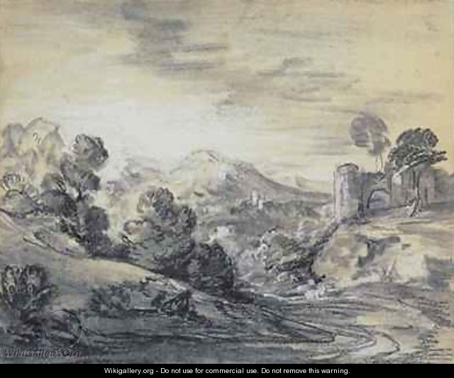 Wooded Landscape with Castle - Thomas Gainsborough