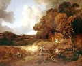 Extensive wooded landscape with peasants on a path - Thomas Gainsborough