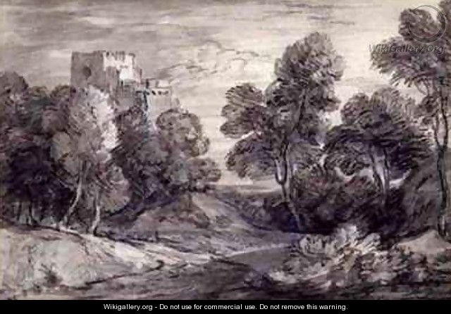 Wooded Landscape with a Castle - Thomas Gainsborough