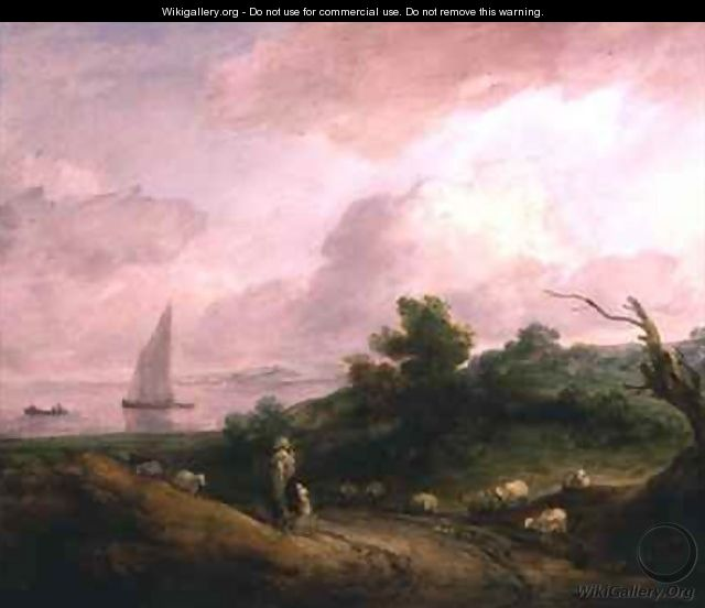Coastal Landscape with a Shepherd and his Flock - Thomas Gainsborough