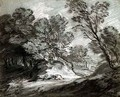 Wooded landscape with a distant mountain - Thomas Gainsborough