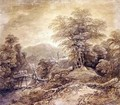 Wooded Mountain Landscape Herdsman and Cows Crossing - Thomas Gainsborough