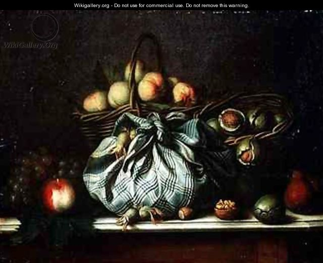 Baskets of Fruit Walnuts and Nuts in a Knapsack - Gagneux
