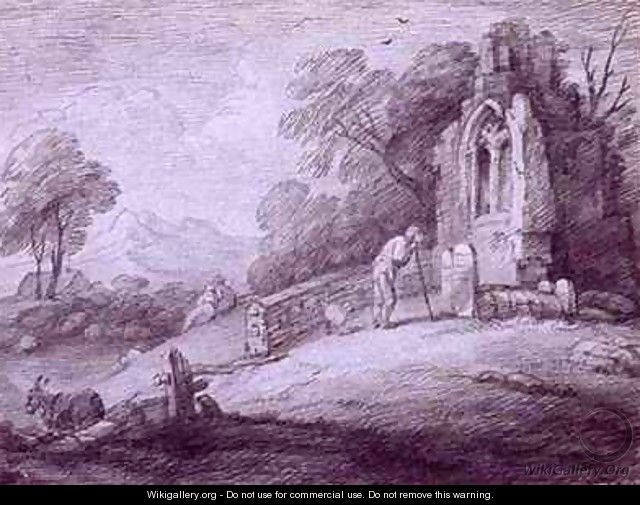 Churchyard with Figure Contemplating Tombstone - Thomas Gainsborough