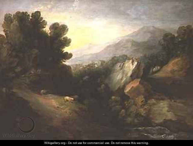 Rocky wooded landscape with sheep by a waterfall - Thomas Gainsborough