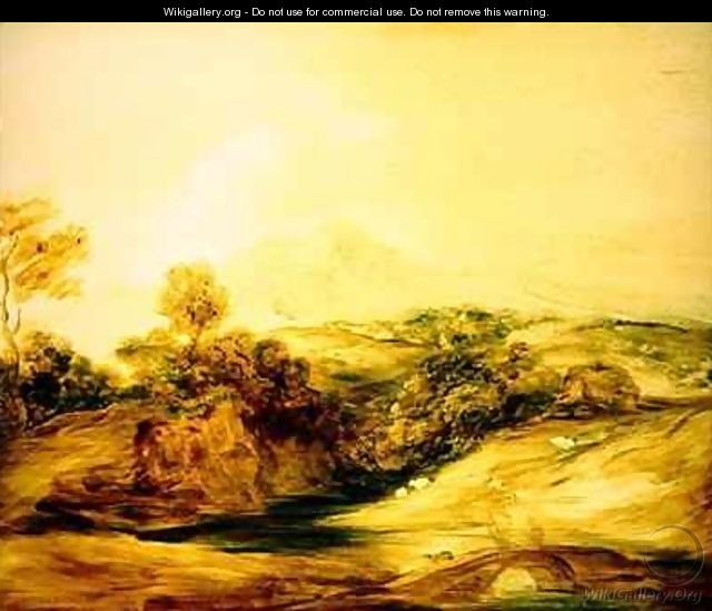 Wooded River landscape with figures on a bridge - Thomas Gainsborough