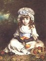 A Little Girl in a Mob Cap with a Basket of Apples - William Hippon Gadsby