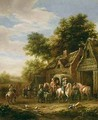 Landscape with travellers beside a cottage - Barend Gael or Gaal