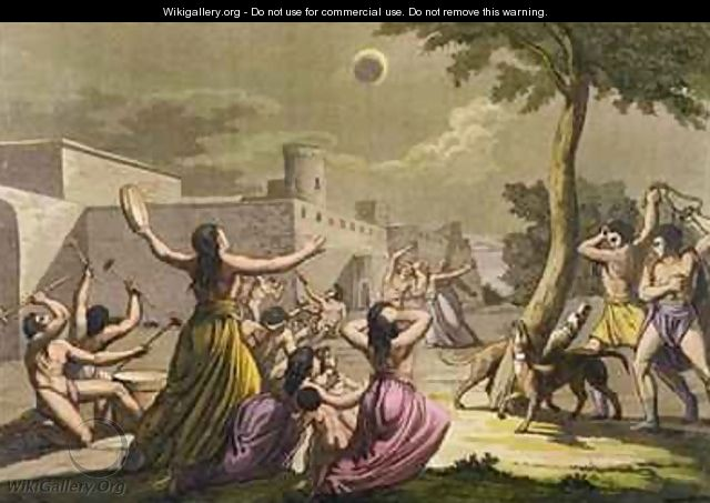 Terror of the Peruvians during an eclipse of the moon from Le Costume Ancien et Moderne - Gallo Gallina